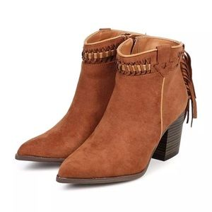 Qupid Contrast Weave Fringe Western Boots